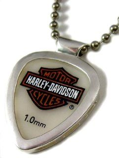 "Harley Davidson Guitar Pick & Pickbay Guitar Pick Holder Stainless Steel Pendant Necklace & ""Bigger Ball Chain 3.2mm"" Adj necklace Musical Instruments"