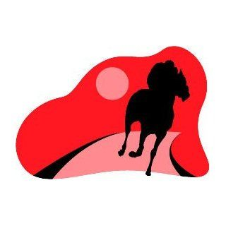 "4"" Horse racing silhouette   red background. Printed vinyl decal sticker for any smooth surface such as windows bumpers laptops or any smooth surface."