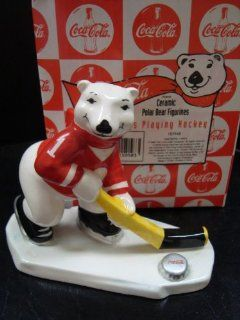 "COCA COLA POLAR BEAR ""ALWAYS PLAYING HOCKEY"" FIGURINE  Collectible Figurines"