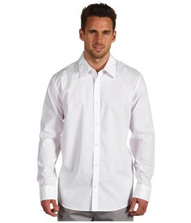 Calvin Klein L/S Non Iron Solid Stretch Sport Shirt Mens Long Sleeve Pullover (White)