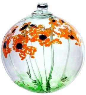 "Kitras Art Glass 2"" Blossom Ball ~ Orange Daisy Blossoms ~ Just Because   Christmas Ball Ornaments"