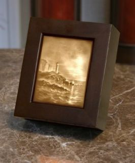 Light House Lithophane Shadow Box Cherry Wood Finish   Led Household Light Bulbs