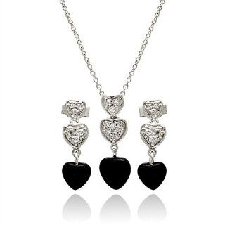 Splendid Hanging Onyx and Cubic Zirconia Heart Sterling Silver Set, Comes in Gift Box and Pouch. Pendants Jewelry