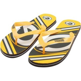 Green Bay Packers Unisex Big Logo Flip Flops   Gold/Green