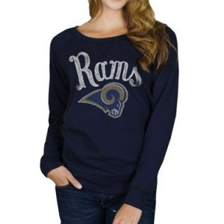 Junk Food St. Louis Rams Ladies Field Goal Fleece Sweatshirt   Navy Blue