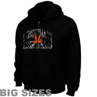 Cincinnati Bengals Big Sizes Touchback Full Zip Fleece Hoodie   Black
