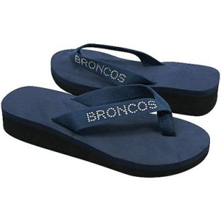 Denver Broncos Ladies Bling Wedge Flip Flop   Navy Blue