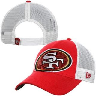 New Era San Francisco 49ers 9FORTY Ladies Sequin Shimmer Adjustable Hat   Red/White