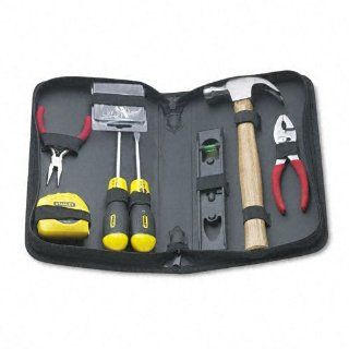 "Stanley Products   Stanley   General Repair Tool Kit in Water Resistant Black Zippered Case   Sold As 1 Each   Great for a variety of household and office repairs.   Contains 12 ft. tape rule, 8"" torpedo level, 7 oz. wood claw hammer, picture hanging"