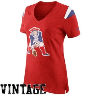 Nike New England Patriots Womens Retro Fan V Neck T Shirt   Red