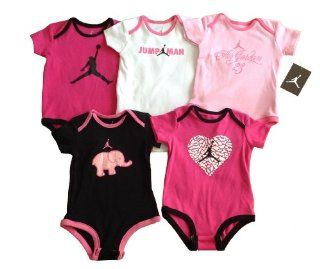 "Nike Jordan Infant New Born Baby Girl Lap Shoulder Bodysuit 5 PCS with Different Color and ""Jordan"" Sign Pattern (0 3, 3 6, 6 9, 9 12 Months) NEW (3 6 MONTHS)  Infant And Toddler Apparel  Baby"