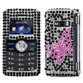 Hard Plastic Snap on Cover Fits LG VX9200 enV3 Vintage Butterfly Full Diamond/Rhinestone Verizon (does NOT fit LG Env2 VX9100) Cell Phones & Accessories