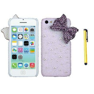 Hard Plastic Snap on Cover Fits Apple iPhone 5C Lite Purple Bow Pearl 3D Diamond Back + A Gold Color Stylus/Pen AT&T, Verizon, T Mobile, Boost Moblie, Sprint (does NOT fit Apple iPhone or iPhone 3G/3GS or iPhone 4/4S or iPhone 5/5S) Cell Phones &