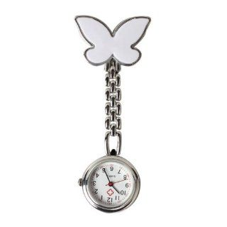 Vktech Butterfly Nurse Table Pocket Watch with Clip Brooch Chain Quartz White  Sports Fan Watches  Sports & Outdoors
