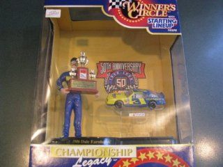 Dale Earnhardt Sr #3 Wrangler Championship Win 1986 Hasbro 4 Inch Tall Action Figure With 1986 NASCAR (Not Winston Due to Toy) Cup Trophy and 1/64 Scale Diecast Car Winners Circle Hard To Find Toys & Games