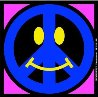 "SMILEY PEACE SIGN   BLUE/PINK   STICK ON CAR DECAL SIZE 3 1/2"" x 3 1/2""   VINYL DECAL WINDOW STICKER   NOTEBOOK, LAPTOP, WALL, WINDOWS, ETC. COOL BUMPERSTICKER   Automotive Decals"
