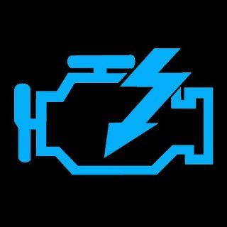 "CHECK ENGINE LIGHT   5"" LIGHT BLUE   Vinyl Decal Sticker   NOTEBOOK, LAPTOP, WALL, WINDOW, CAR, TRUCK, MOTORCYCLE, ETC.   Wall Decor Stickers"