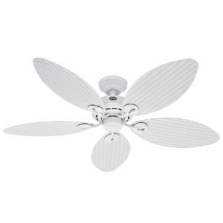 Hunter 23979 Bayview 54 Inch Five Blades Ceiling Fan, White Wicker Palm Leaf