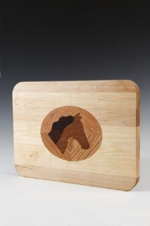 Cutting Board Inlaid with Horse Head Design Kitchen & Dining