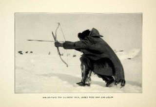 1927 Print Hunting Eskimo Bow Arrow Indigenous Fifth Thule Expedition Fur Native   Original Halftone Print