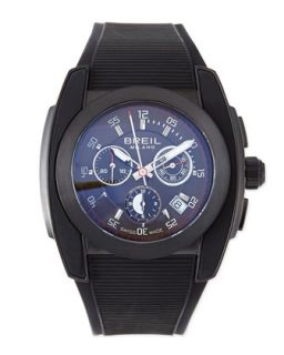Mens Mediterraneo Rubber Strap Watch, Black   Breil   Black