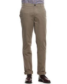 Mens Twill Aviator Trousers   Brunello Cucinelli   Brown (48)