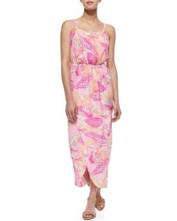 Womens Palm Print Silk Tulip Maxi Dress, Pink   Amanda Uprichard   Pink ptrn
