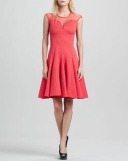 Womens Cap Sleeve Ponte Illusion Godet Dress   Halston Heritage   Vermillion