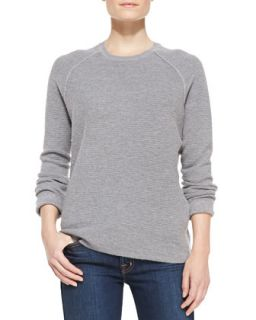 Womens Long Sleeve Ribbed Jacquard Sweater, Gray   Halston Heritage   Grey