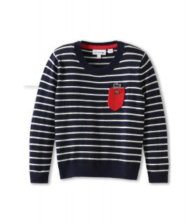 Lacoste Kids Girls S S Crewneck Sweater With Pocket Detail Little Kids Big Kids Shadow Blue Cake Flour
