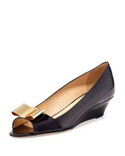theresa patent peep toe bow wedge   kate spade new york   Navy (38.5B/8.5B)