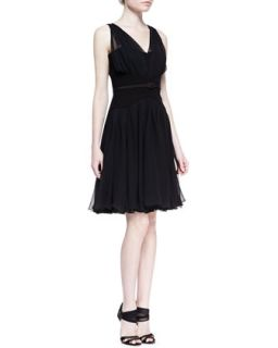 Womens Gathered V Neck Silk Chiffon Dress, Black   Oscar de la Renta   Black