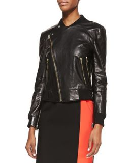 Womens Lambskin Leather Moto Jacket   DKNY   Black (SMALL)