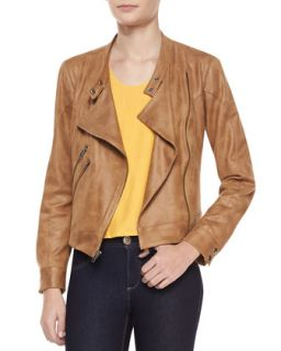 Womens Morgan Draped Faux Leather Jacket   Waverly Grey   Caramel (10)
