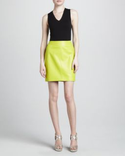 Womens Leather Pencil Skirt   Jason Wu   Lime (8)
