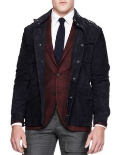 Mens Suede Safari Jacket, Navy   Brunello Cucinelli   Navy (54)