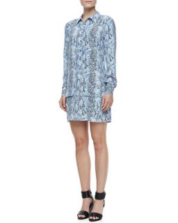 Womens Lucida Snake Print Long Sleeve Silk Dress   Equipment   Klein blue (X