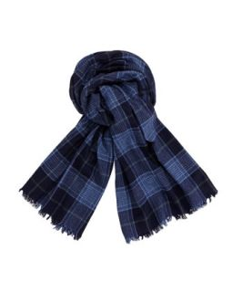 Plaid Cashmere Mens Scarf, Navy   Brunello Cucinelli   Navy