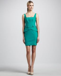 Womens Square Neck Peplum Dress   Nicole Miller   Aquamarine (10)