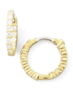 16mm Yellow Gold Diamond Huggie Hoop Earrings, .76ct   Roberto Coin   Yellow
