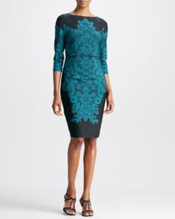 Womens Lace Print 3/4 Sleeve Jersey Dress   David Meister   Emerald/Black (4)