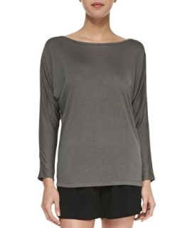 Womens Long Sleeve Mesh Top, Slate   Vince   Slate (LARGE)