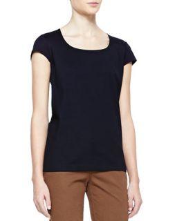 Womens Scoop Neck Cap Sleeve Top   Lafayette 148 New York   Black (LARGE)