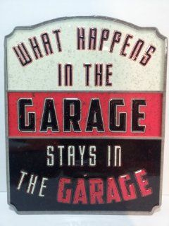 What Happens in the GARAGE Stays in the GARAGE Embossed Tin Sign Chevrolet Ford MAN CAVE Father's Day Gift   Gifts For Men