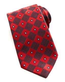 Mens Diagonal Box Silk Tie, Red   Ermenegildo Zegna   Red