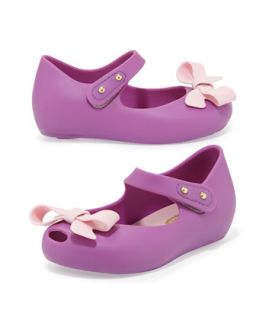 Mini Ultragirl Bow Jelly Flats, Lilac/Pink   Melissa Shoes   Lilac/Pink (5)