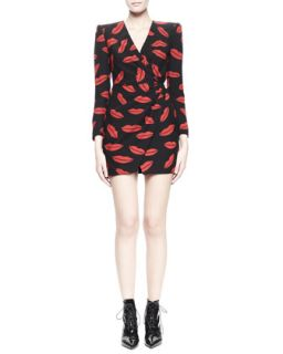 Womens Lips Long Sleeve Crossover Dress   Saint Laurent   Red/Black (38/6)