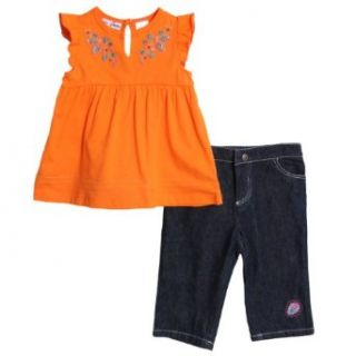 BT Kids Infant Baby Girls 2 Piece Orange Summer Top Dark Denim Jean Capri Pants Infant And Toddler Pants Clothing Sets Clothing