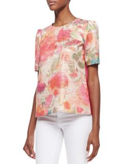Womens haley puff sleeve floral front top, multicolor   kate spade new york