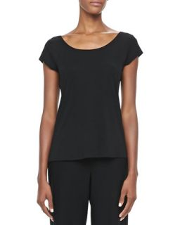 Womens Silk Jersey Cap Sleeve Tee, Petite   Eileen Fisher   Black (PM (10/12))